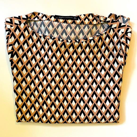 ZARA | long sleeve art deco blouse M